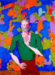 A Man. Computer-generated painting created by a robotic hand controlled by AARON, Cohen's software program